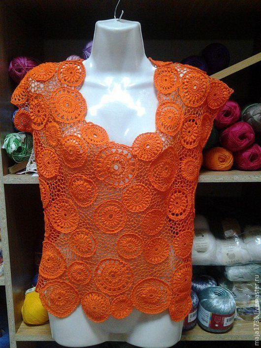 """Кофты и свитера ручной работы. Ярмарка Мастеров - ручная работа. Купить Ажурная блуза  """"Апельсиновый рай"""". Handmade. Рыжий"""