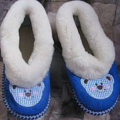 Обувь ручной работы. Ярмарка Мастеров - ручная работа Тапочки-чувяки из овчины 32 размер. Handmade.