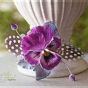 Украшения ручной работы. Ярмарка Мастеров - ручная работа Зажим  виола Pink. Clayflowers.. Handmade.