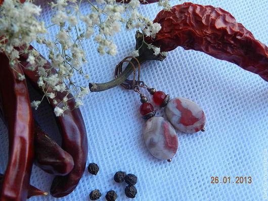 """Серьги ручной работы. Ярмарка Мастеров - ручная работа. Купить Серьги """"Перчинка"""" (агат, нефрит). Handmade. Ярко-красный, нефрит"""