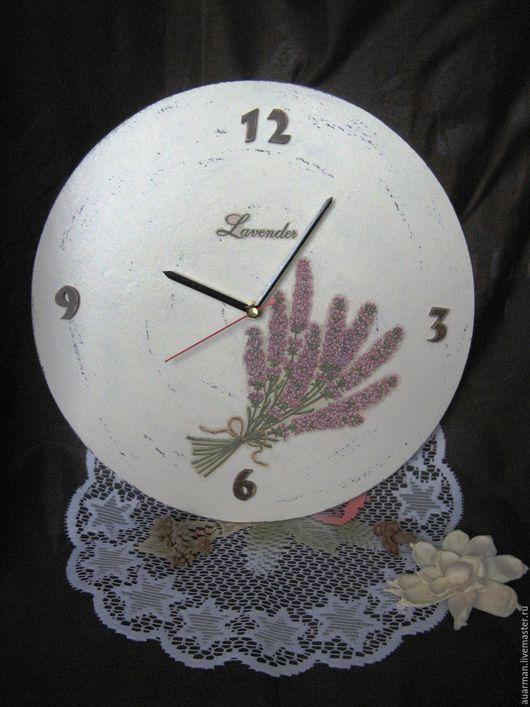 Часы для дома ручной работы. Ярмарка Мастеров - ручная работа. Купить Часы настенные круглые декупаж Ветка лаванды. Handmade.