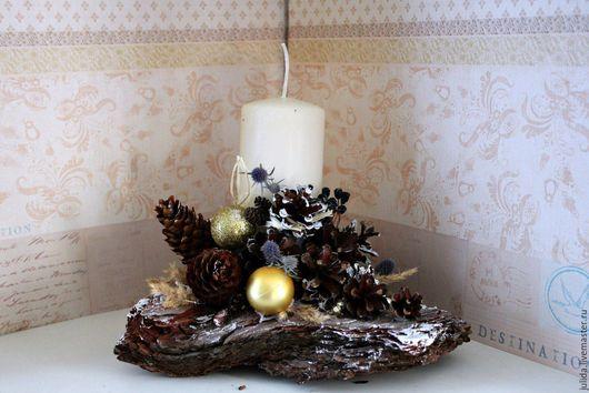 Открытки на все случаи жизни ручной работы. Ярмарка Мастеров - ручная работа. Купить композиция со свечой на коре. Handmade. Свеча