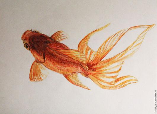 Открытки на все случаи жизни ручной работы. Ярмарка Мастеров - ручная работа. Купить золотая рыбка. Handmade. Золотой, рыбка золотая