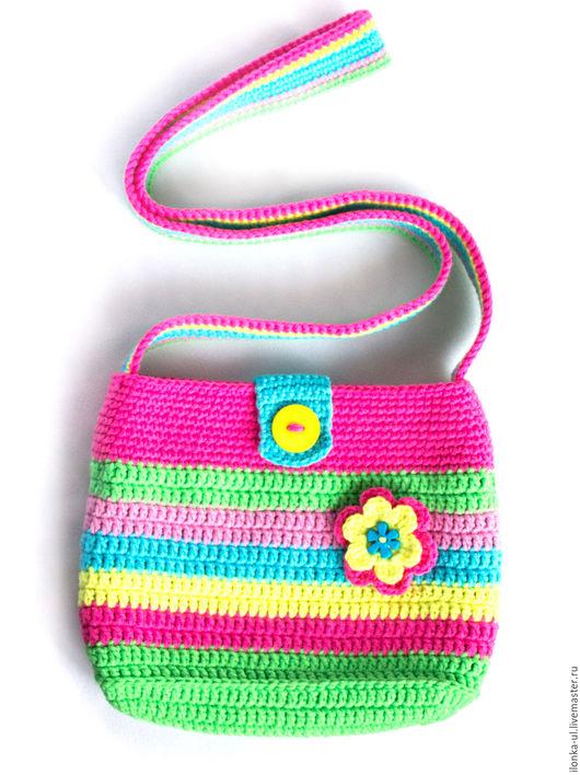 Детские аксессуары ручной работы. Ярмарка Мастеров - ручная работа. Купить Разноцветная детская сумочка с цветком. Handmade. Разноцветный