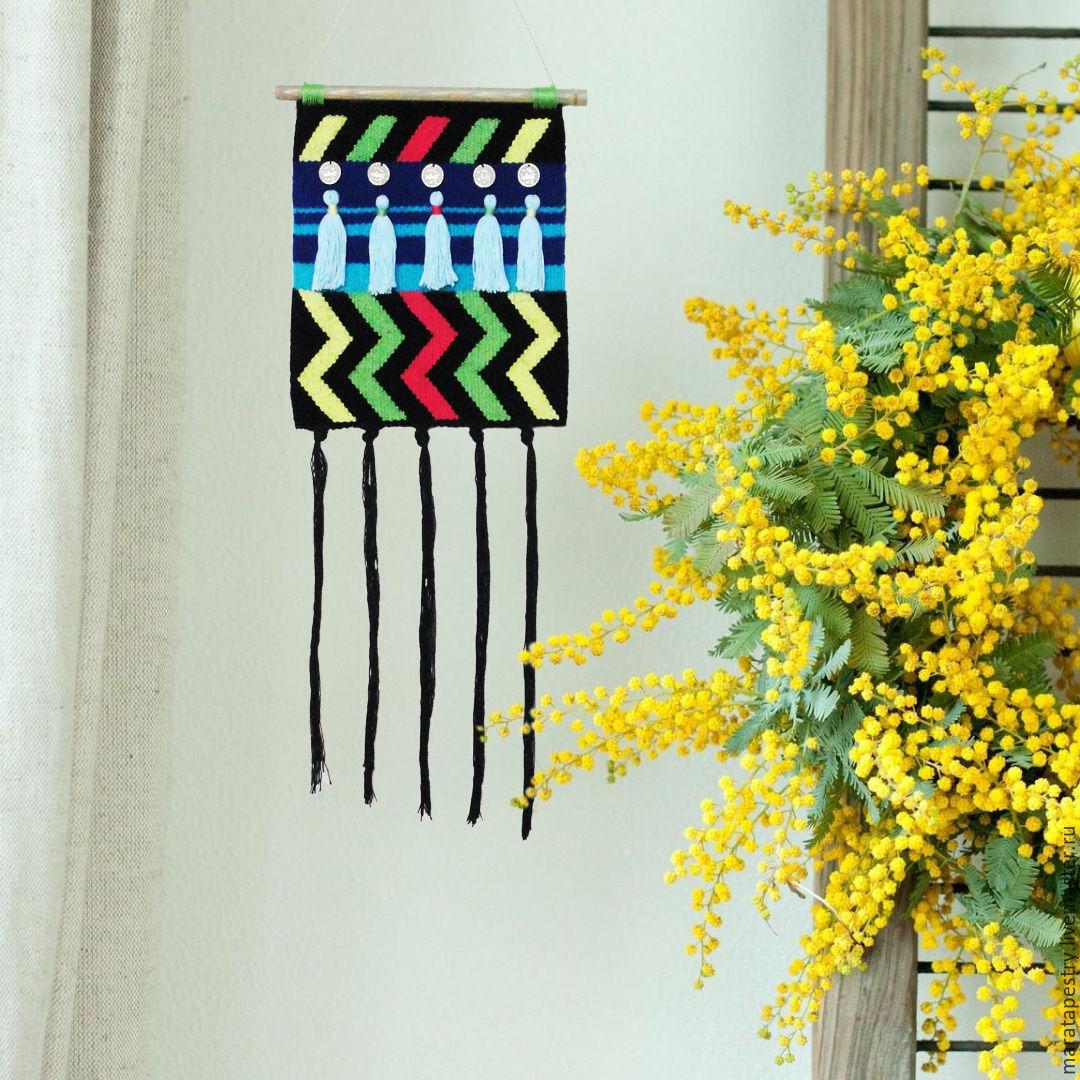 Neon Bedouin woven wall hanging woven tapestry art fiber textile ...