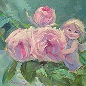 Картины и панно handmade. Livemaster - original item Oil painting on canvas. Angel blooming garden.. Handmade.