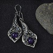 Украшения handmade. Livemaster - original item Long earrings with amethyst Evening earrings drop. Handmade.