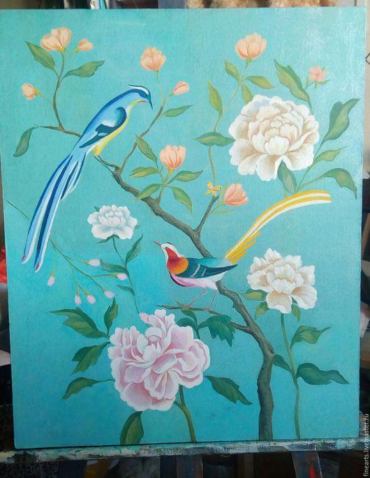 Картины цветов ручной работы. Ярмарка Мастеров - ручная работа. Купить Райский сад. Handmade. Бирюзовый, райская птица