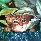 Картины и панно ручной работы. Ярмарка Мастеров - ручная работа Картина маслом Мурзик в засаде. Портрет котика. Handmade.