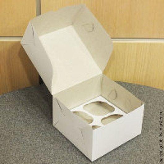 Упаковка ручной работы. Ярмарка Мастеров - ручная работа. Купить ОСТАТОК!!!Коробка на 4 капкейка. Handmade. Белый, коробочка, коробочка для подарка