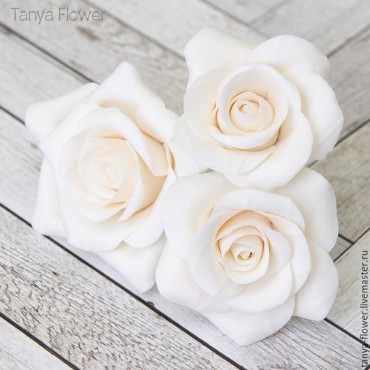 Заколки ручной работы. Ярмарка Мастеров - ручная работа. Купить Комплект свадебных шпилек с розами - Белые (3 шт). Handmade.