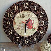Часы классические ручной работы. Ярмарка Мастеров - ручная работа Настенные часы с декором из кофейных зерен. Handmade.