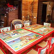 Столы ручной работы. Ярмарка Мастеров - ручная работа Роспись мебели. Обеденный  стол с росписью. Handmade.