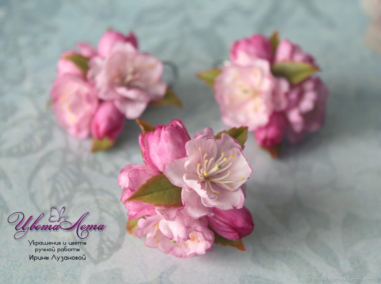 Ring and earrings with Sakura 'Sayuri' (polymer clay), Rings, Kovrov,  Фото №1