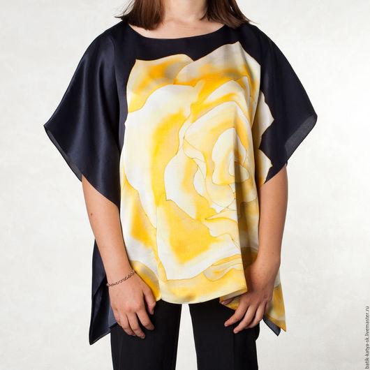 """Блузки ручной работы. Ярмарка Мастеров - ручная работа. Купить Батик шелковая блуза """"Королева ночи"""". Handmade. Батик"""