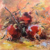 Картины и панно handmade. Livemaster - original item Grenades-Original painting -Still life-Greek art-red grenades. Handmade.