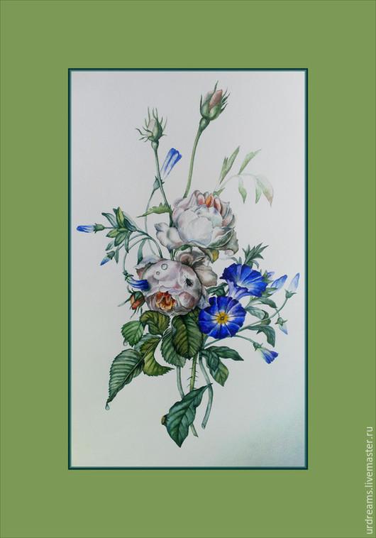 Картины цветов ручной работы. Ярмарка Мастеров - ручная работа. Купить Мария Антуанетта. Handmade. Разноцветный, ботанический рисунок