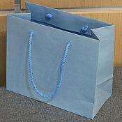 Пакеты ручной работы. Ярмарка Мастеров - ручная работа 21х18х10 - пакет голубой с ручками веревочными. Handmade.