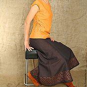 """Одежда ручной работы. Ярмарка Мастеров - ручная работа Юбка коричневая """"узелок на счастье"""". Handmade."""