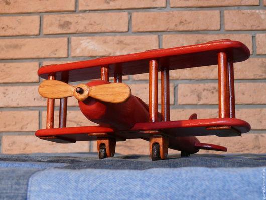 Техника ручной работы. Ярмарка Мастеров - ручная работа. Купить Деревянный самолет (детская игрушка). Handmade. Ярко-красный, сосна