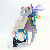 handmade. Livemaster - original item Gifts: Interior toy, a couple of mice in love. Handmade.