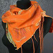 Аксессуары handmade. Livemaster - original item Women`s felted scarf wool felted scarf bright red. Handmade.
