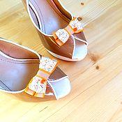 """Украшения ручной работы. Ярмарка Мастеров - ручная работа Клипсы для туфель  """" Апельсиновые бантики"""". Handmade."""