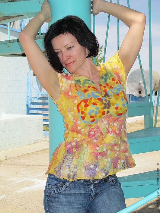 """Жилеты ручной работы. Ярмарка Мастеров - ручная работа. Купить Жилет """" Мозаика"""". Handmade. Желтый, меринос, натуральный шёлк"""