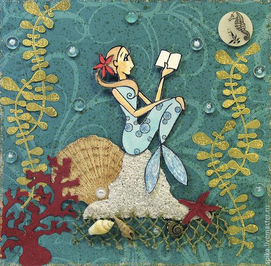 """Открытки на все случаи жизни ручной работы. Ярмарка Мастеров - ручная работа. Купить Открытка """"Русалка"""". Handmade. Морская волна, чтение"""