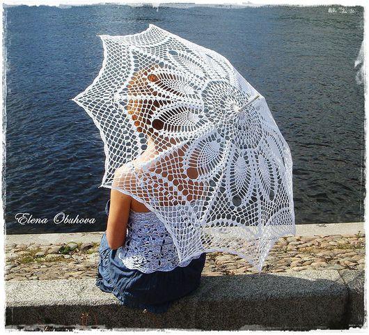 Зонты ручной работы. Ярмарка Мастеров - ручная работа. Купить Ажурный зонт. Handmade. Белый, аксессуар для фотосессий, хлопок с вискозой