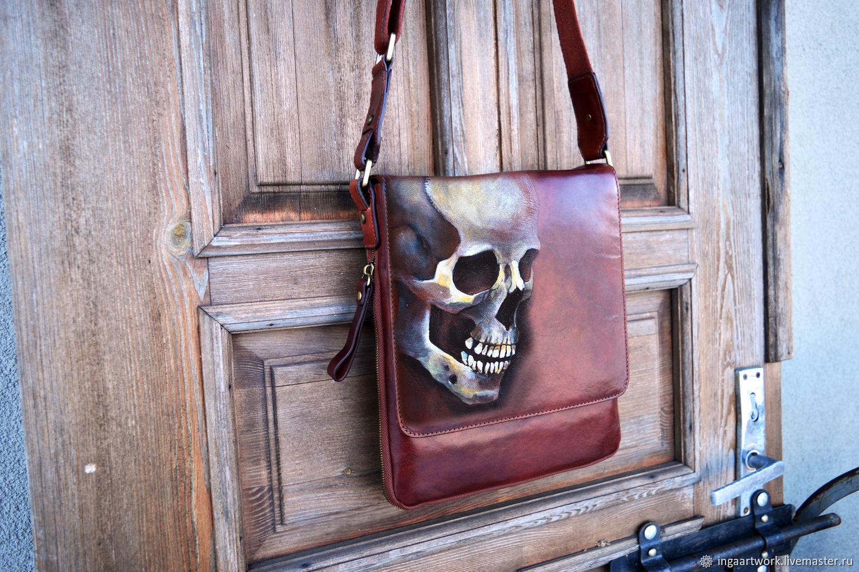 Skull leather satchel Shoulder briefcase Hand painted, Men\'s bag, Trakai,  Фото №1