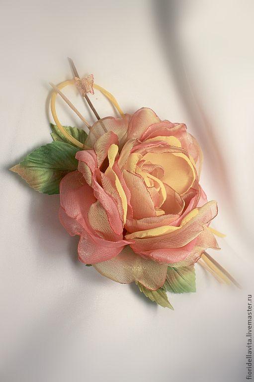 """Броши ручной работы. Ярмарка Мастеров - ручная работа. Купить Шифоновая роза """"Бархатный сезон"""". Handmade. Рыжий, цветок украшение"""