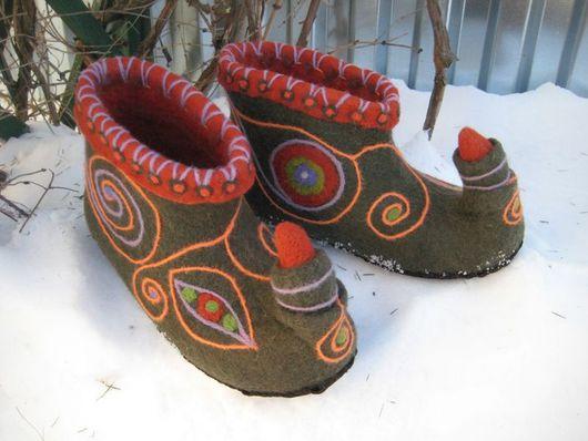 """Обувь ручной работы. Ярмарка Мастеров - ручная работа. Купить Тапочки """" Носатые"""". Handmade. Домашняя обувь, хаки"""