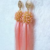 Украшения handmade. Livemaster - original item Drop pink beaded and silk brush earrings. Handmade.