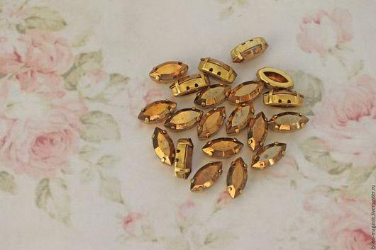 Для украшений ручной работы. Ярмарка Мастеров - ручная работа. Купить Винтажные кристаллы 15х7мм. стразы в оправе цвет античное золото. Handmade.