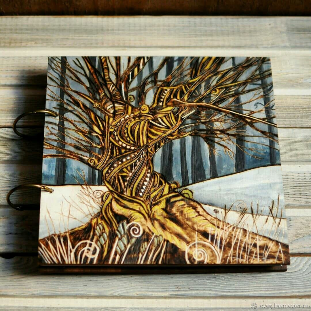 """Sketchbook wood cover 22x22sm """"Winter tree"""", Sketchbooks, Moscow,  Фото №1"""