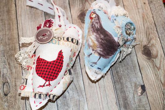 Подвески ручной работы. Ярмарка Мастеров - ручная работа. Купить Сердечко из хлопка с курочкой. Handmade. Хлопок, сердце, белый, лён
