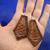 Украшения handmade. Livemaster - original item Earrings made of leather with embossed Setochnye. Handmade.