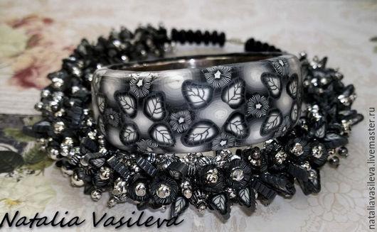 Bracelets handmade. Livemaster - handmade. Buy Bracelet 'Night flowers'.Flowers, leaves, metal bracelet, metal hardware