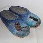 """Обувь ручной работы. Ярмарка Мастеров - ручная работа Тапочки валяные """"Ежик и медвежонок"""". Handmade."""