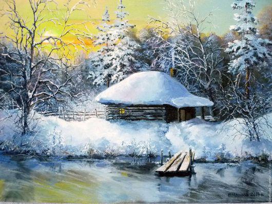 Зимний пейзаж,картина маслом,картина на холсте,купить картину,купить картину в подарок,купить подарок,русский пейзаж,зима,домик,вода,купить картину для гостинной,заказать картину,ручная работа.