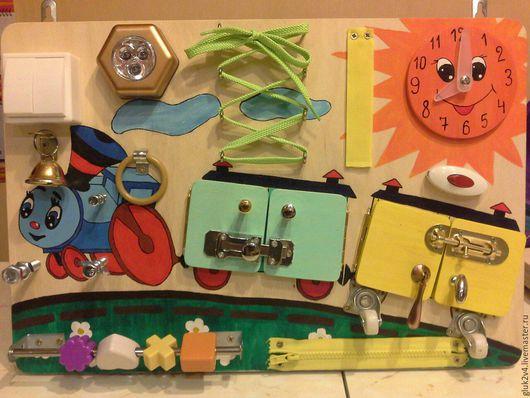 Развивающие игрушки ручной работы. Ярмарка Мастеров - ручная работа. Купить Бизиборд Веселый паровозик. Handmade. Комбинированный, подарок ребенку