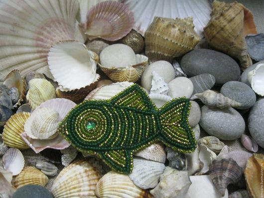 """Броши ручной работы. Ярмарка Мастеров - ручная работа. Купить Брошь """" Изумрудный обитатель морей """". Handmade. Зеленый"""