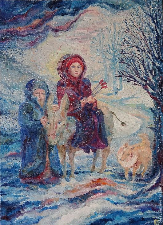 """Пейзаж ручной работы. Ярмарка Мастеров - ручная работа. Купить Картина Маслом """"Перед Рождеством"""". Handmade. Тёмно-синий, подарок"""