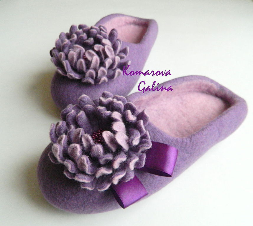 women's felted Slippers Purple, Slippers, Moscow,  Фото №1