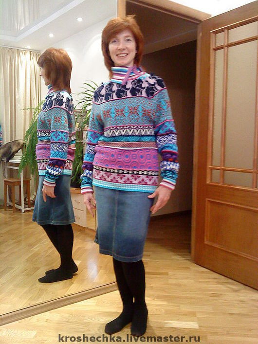 Sweatshirts & Sweaters handmade. Livemaster - handmade. Buy Wool knitted sweater 'Ornament'.Warm clothes, knitted sweater, buy