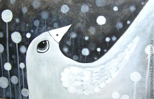 Животные ручной работы. Ярмарка Мастеров - ручная работа. Купить Картина Белая  ворона  ночь  черный   белый. Handmade. Ночь