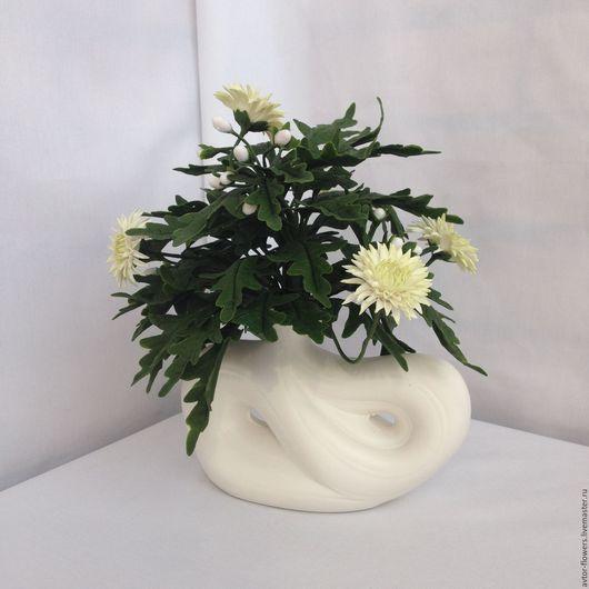 Интерьерные композиции ручной работы. Ярмарка Мастеров - ручная работа. Купить Белые хризантемы. Handmade. Белый, украшение для интерьера