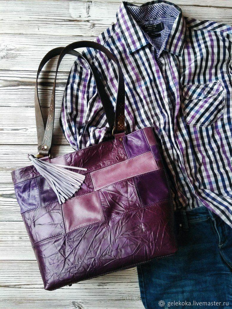 Boho purple genuine leather shopping bag, Shopper, St. Petersburg,  Фото №1