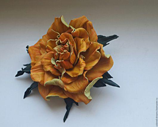 Броши ручной работы. Ярмарка Мастеров - ручная работа. Купить брошь из кожи. Handmade. Желтый, роза из кожи, кожа натуральная